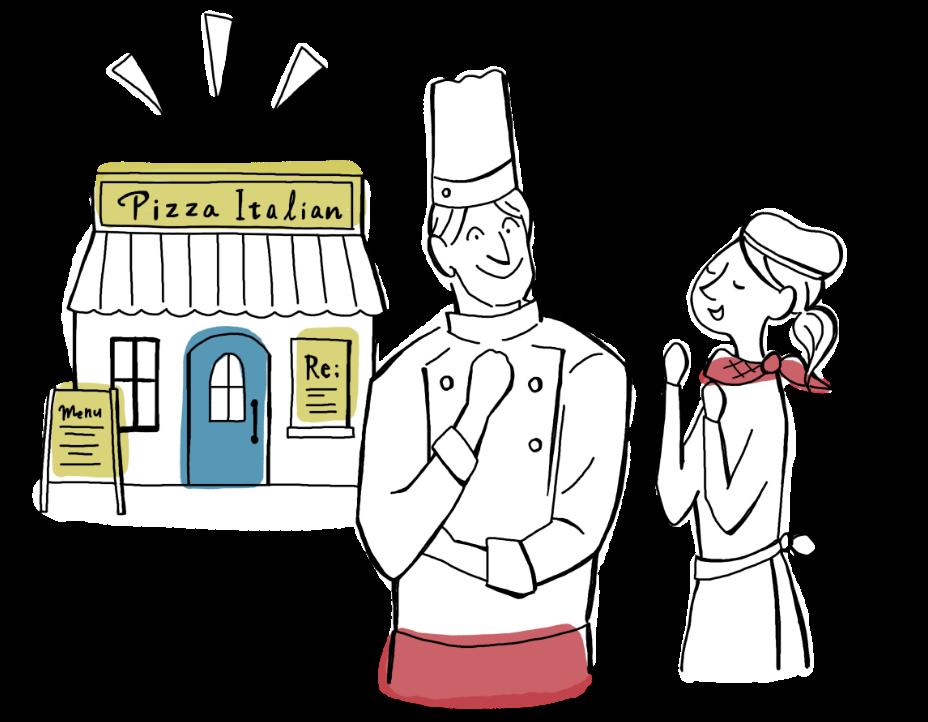 ピザ屋の店舗とスタッフ